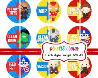 Digital Bottle Cap Image Sheet - SUPERHERO 2 - Chore Chart with 45 Chores -  1 Inch Digital Collage  - Instant Download