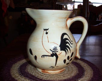 "Pennsbury Pottery Black Rooster Creamer Small Pitcher... Mid Century Pennsbury with Brown Shades 5"" Pitcher..."