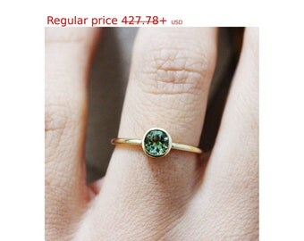 Summer Sale! Green Tourmaline Ring, Solitaire Engagement Tourmaline Ring, Gold Tourmalin Bezel Ring, Gold Kiss Stacking Ring, March Birthsto
