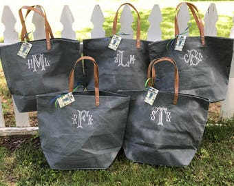 Monogrammed Large Jute Burlap Tote Bag with Leather Handles-RUSH ORDERS WELCOME!