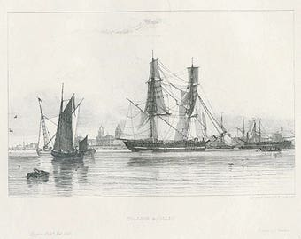 Coastal Print 1829 Collier &c (CALM) by E.W Cooke Antique Marine Wall Decor Etching of Shipping