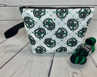 Slytherin  -  Harry Potter project bag for knitting or crochet