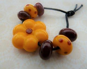 handmade lampwork yellow flower glass beads, UK set