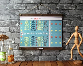 Vintage Fireworks - Emerald Cascade / Vintage Pull Down Reproduction / Canvas Fabric or Paper Print / Oak Wood Hanger and Brass Hardware