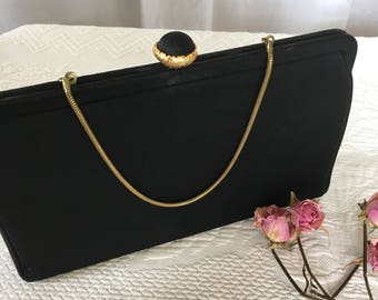 Vintage Black Purse With Gold Chain and Opener. Optional Chain Handle or Use as a Clutch. Comb in Interior Pocket.