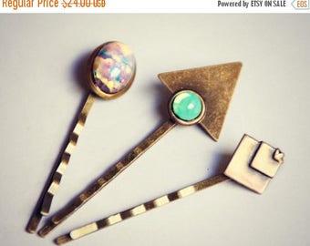 VACATION SALE geometric opal bobby pin set, triangle bobby pin, pink opal bobby pin, green opal bobby pin, geometric hairpins, opal hairpin