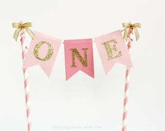 One Pink and Gold Smash Cake Topper Banner, Baby Girl 1st Birthday, First Birthday Party Decorations