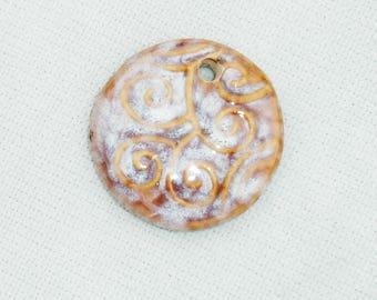 Round Ceramic Pendant - 1 pcs - Jewelry Making Supplies