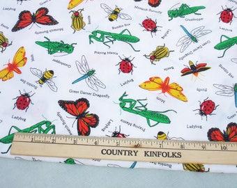 Backyard Bugs on White Background Remant Fabric - 36 x 44