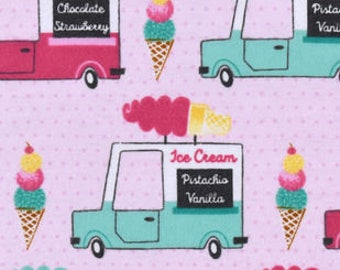 Snuggle Flannel Fabric - Ice Cream Trucks - Sold by the Yard