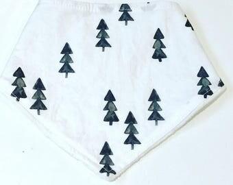 Baby Bandana Bib, Christmas Trees Baby Bib, Monochrome Christmas Bandana Bib, Drool Bib, Black and White Bib, Baby Shower Gift