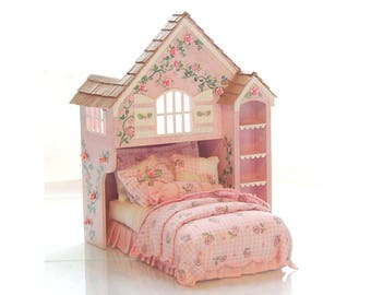 Pink & White Perfection PLAYHOUSE BED Dollhouse Miniature Custom Built Hand-Painted