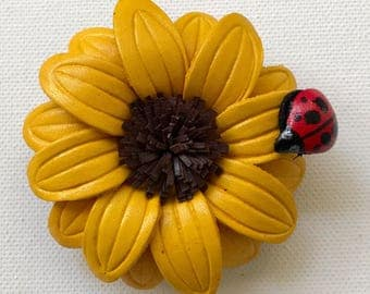 Hazel's sunflower with ladybug charm hair clip & pin