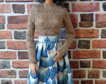 Vintage Print Feathers Skirt for Barbie or similar fashion doll