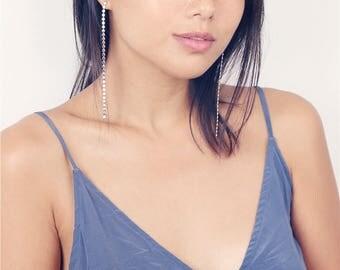 Delicate silver sequinned long earrings - sleek earrings - party jewelry