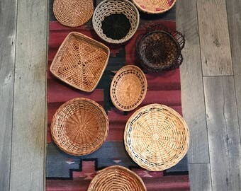 Wicker Baskets/ Wall Decor/ Vintage Wicker Wall Hangings