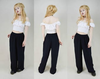 90s Grunge Black Viscose Wide Leg Baggy Trousers Pants S