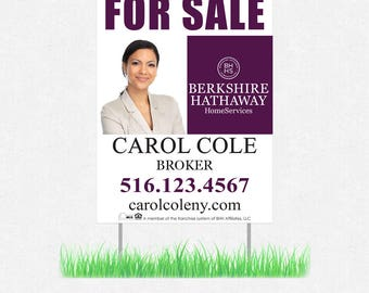"""real estate yard sign - 18"""" x 24"""" horizontal or vertical lawn signs - full color both sides - FREE design and UPS ground shipping"""