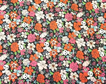 Panda and floral fabric, Sweet Forest collection, printed in Japan, sewing, patchwork, quilting, children fabric, small floral print