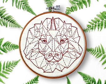 embroidery pattern, geometric lion, rustic home decor, contemporary embroidery, beginner pattern, diy hoop art, modern embroidery pattern