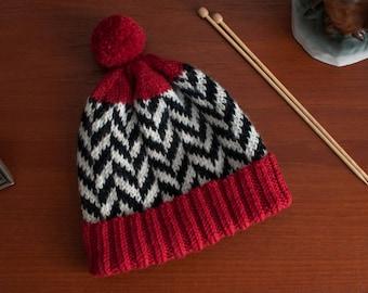 Twin Peaks clothing, hat, chevron pattern, handmade, women size S, twin peaks inspired gift, wool, pompom, alpaca, blackandwhite
