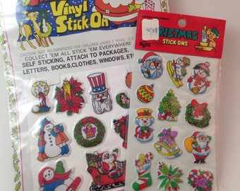 vintage nos christmas puffy stickers, snowman, wreath, stocking, xmas, set of 2 sheets, 24 stickers