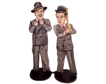 Abbott and Costello Hand Painted 2D Art Figurines