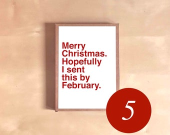 Funny Holiday Card Set - Funny Christmas Cards - Boxed Holiday Cards - Holiday Gift - Merry Christmas. Hopefully I sent this by February.