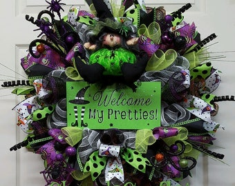 Halloween Wreath, Halloween Decor, Halloween Witch Wreath, Witch Wreath,Witch Decor,Halloween Party