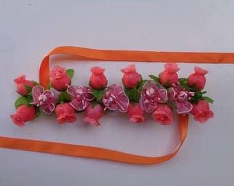 Rosebuds & Tiny Satin Flowers Bun Wrap, Many Colors, Ballet Bun Wrap, Ballet Headpiece, Flower Bun Crown