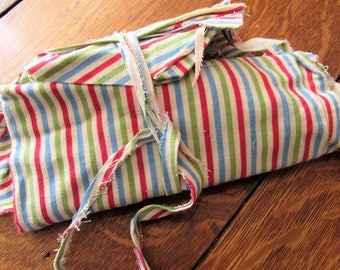 RESERVED FOR RETROA -- bundle of vintage feed sack fabric pieces -- red, green and blue stripe print