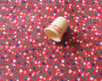 red tiny flowers print cotton vintage fabric tablecloth