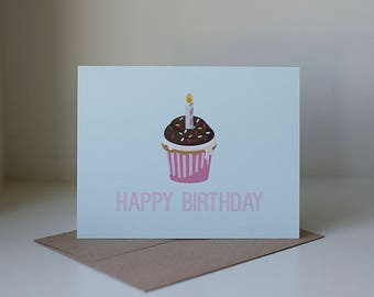 Happy Birthday Card, Happy Birthday Cupcake, Cupcake Card, Kids Birthday Card, Birthday Greeting Card, Birthday Card, First Birthday Card