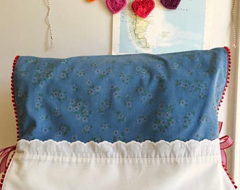 Vintage Blue and Red Floral Pillowcase Sewing Machine Cover/ Dust Cover with Red Poms + Ties