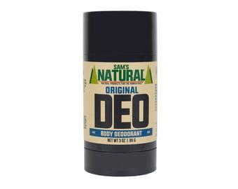 Sam's Natural - Original Natural Deodorant for Men - Gifts for Men - Natural, Vegan + Cruelty-Free