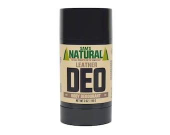 Sam's Natural - Leather Natural Deodorant for Men - Gifts for Men - Natural, Vegan + Cruelty-Free