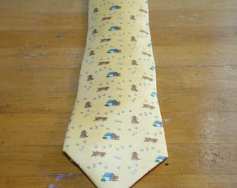 Vintage Hermes Paris Silk Yellow Dog Tie