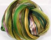 I Speak for the Trees -( 4 oz.)  Custom blended top - Merino / Tencel / Mulberry Silk / Rainbow Tribal Sparkle  ( 40/25/25/10 )