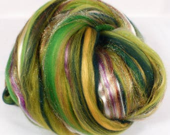 I Speak for the Trees -( 4 oz.)  Custom blended top - Merino / Tencel / Mulberry Silk / Rainbow Tribal Sparkle  ( 40/25/25/10 )