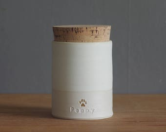 pet urn. gold infilled stamp, straight shaped urn with custom stamp. modern simple urn for ashes. funerary urn. bone white / porcelain shown
