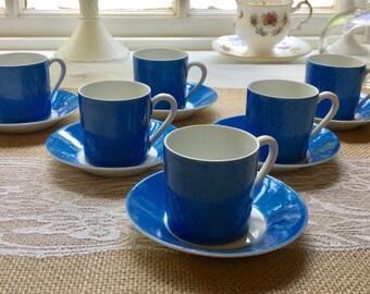 Set of Six Vintage Limoges Colbolt Blue Exresso Cups and Saucers,France