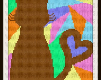C2C Graph, Cat Silhouette Afghan, C2C Graph, & Written Word Chart, Cat Silhouette with Heart Tail, Cat Silhouette Color Background