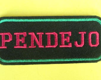 Embroidered Word Patch, PENDEJO, Iron on Word Patch. Biker Patch