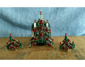 Rare Hollycraft Large Seven Candle Christmas Tree Brooch and Clip On Earring Set 1970s Listed