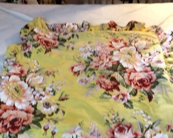 "Ralph Lauren Sophie Brooke Pillow sham 22 "" x 26"" w 3"" Ruffle Yellow with Pink Roses 100% Cotton"
