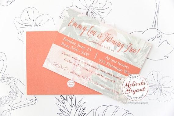 flamingo printed invitations tropical themed party birthday luau