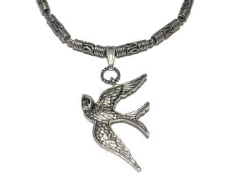 Silver plated bird pendant, antiqued bird pendant on chain with round filigree tubes, S hook clasp, swallow