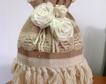 Shabby chick franch cottage lamp shade hand made burlap vintage lace