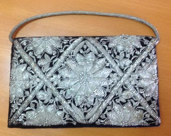 Silver Purse Clutch Evening Bag Black Velvet with Embroidery vintage India