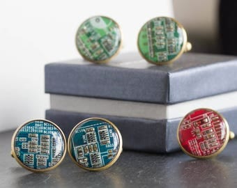 Circuit board Cufflinks, computer geek cufflinks, cyberpunk recycled gift for him cufflinks, bronze back, golden